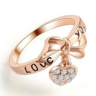 Love You with Heart Dangling 18K Plated Ring