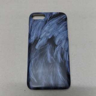 (包郵)  iphone 7/8 藍色羽毛 硬殼
