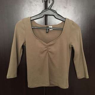 H&M 3/4 Olive Top