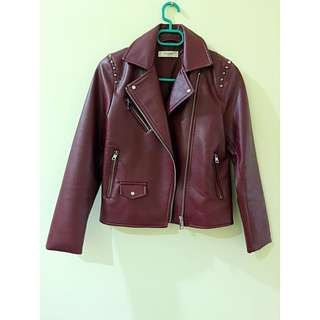 MNG Red PU jacket