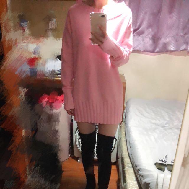 粉色針織洋裝