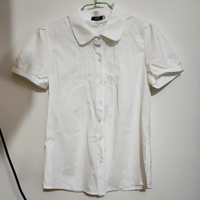 全新短袖雪紡白襯衫