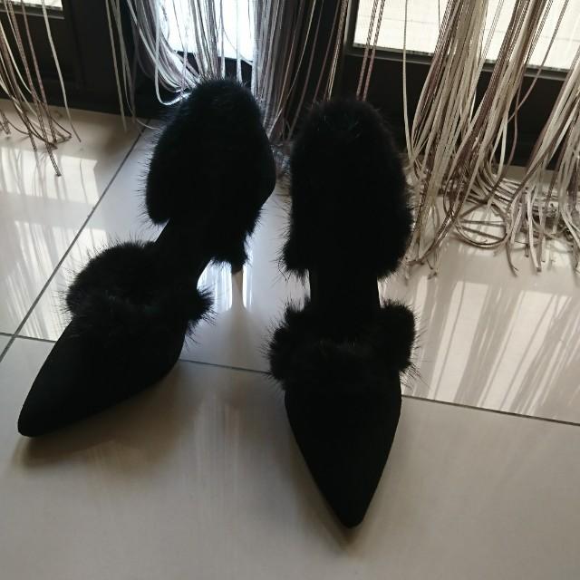 毛毛高跟鞋