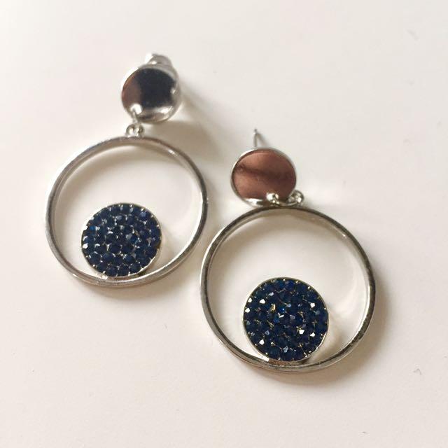 藍鑽銀色圓圈耳環