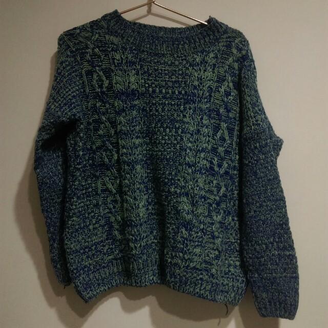 藍綠色針織毛衣