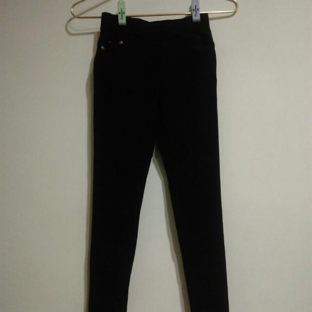 黑色彈性鉛筆褲
