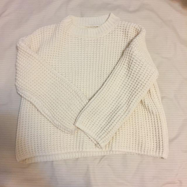 米白小格毛衣