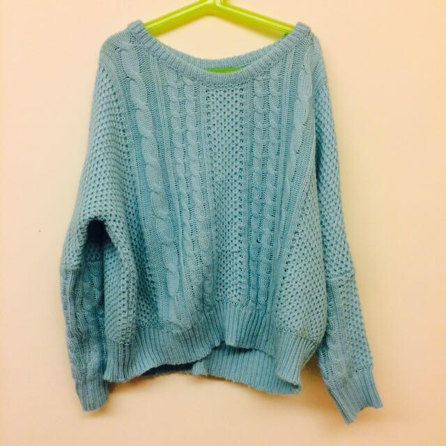淺藍針織毛衣