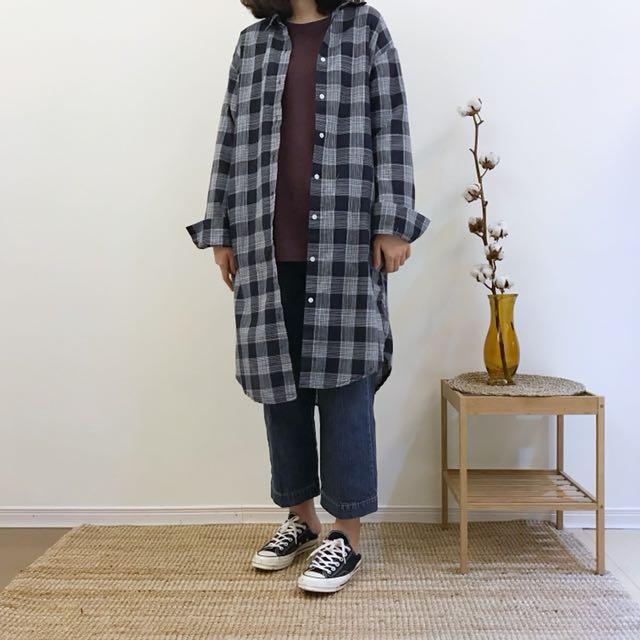 正韓 格紋長版襯衫外套