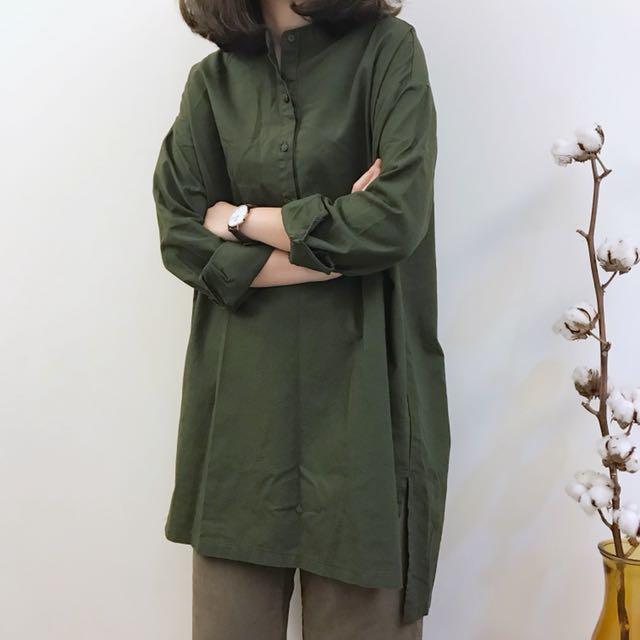 正韓 圓領長版襯衫洋裝
