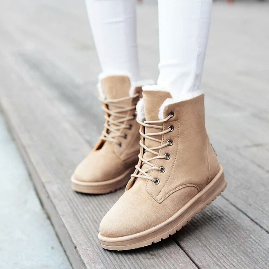 全新保暖馬丁靴 雪靴 防滑綁帶短靴-39/24.5-全新