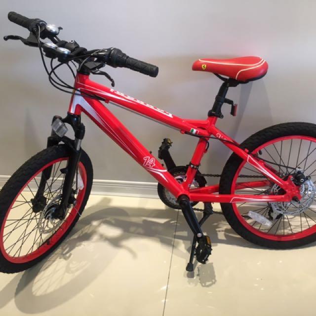 全新紅黑色 法拉利 腳踏車 兒童適用