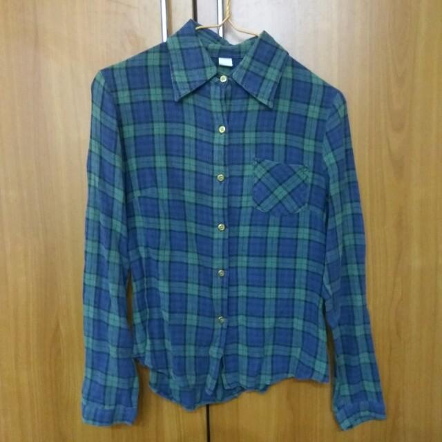 綠色 格子襯衫 長袖