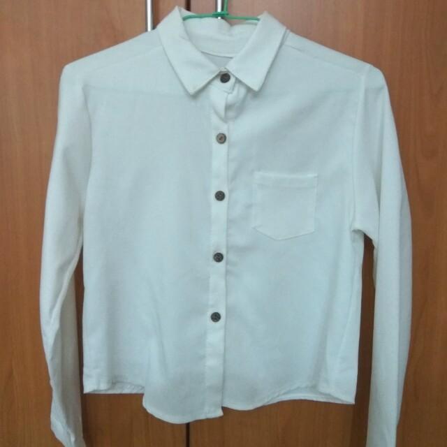 白色 短版 襯衫 厚雪紡