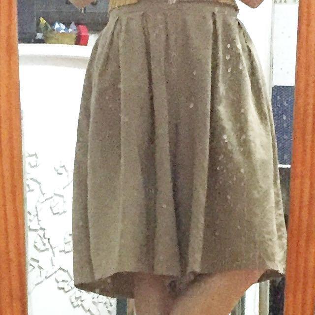 棉麻 褲裙 卡其 鄉村風 圓裙 穿過3次