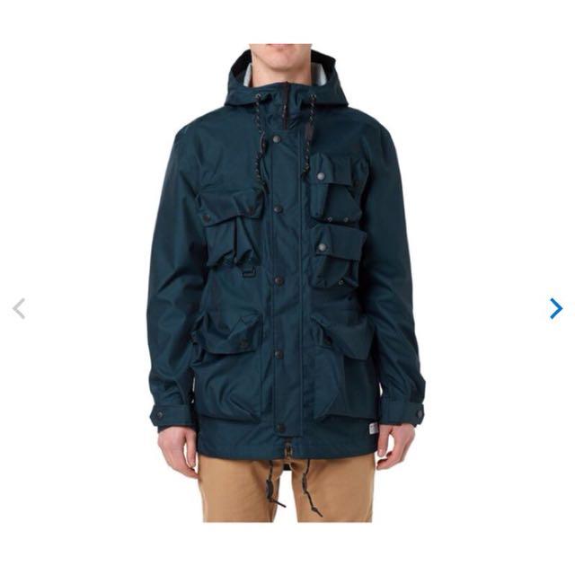 (二手/台灣未售)Adidas 多口袋軍裝連帽外套 風衣