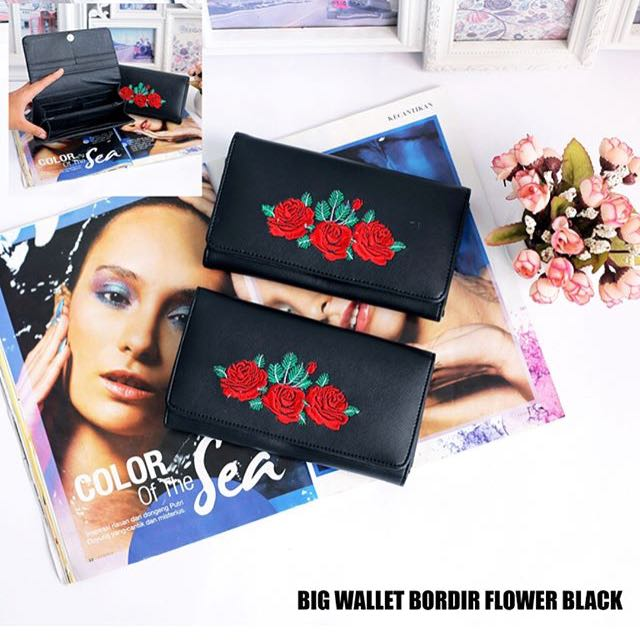 Big wallet bordir flower black