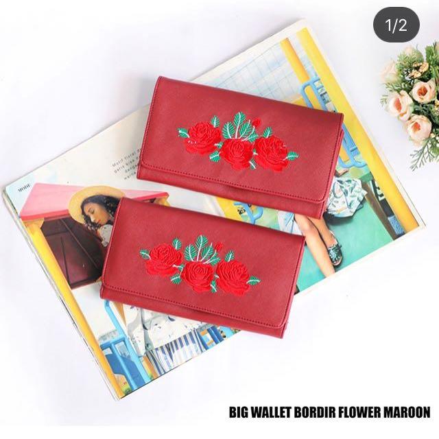 Big wallet bordir flower maroon