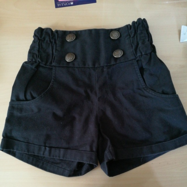 Black high waisted shorts with buttons