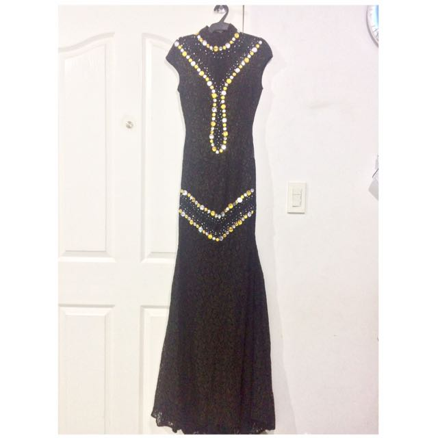 Black Long JS Prom Debut Awarding Birthday Gown