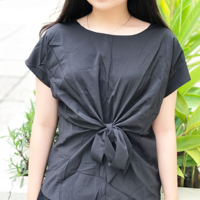 BLACK RIBBON TOP - THEVECLOTHING