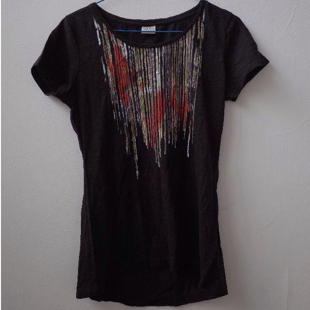 Black Tshirt Motif Stripes short sleeve