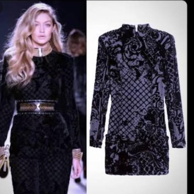BNWT Balmain x H&M Silk Velvet Blend Black Dress sz 14