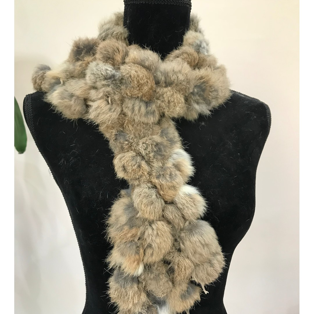 BRAND NEW Faux Fur Grey & Brown Scarf Stole (FROM JAPAN)