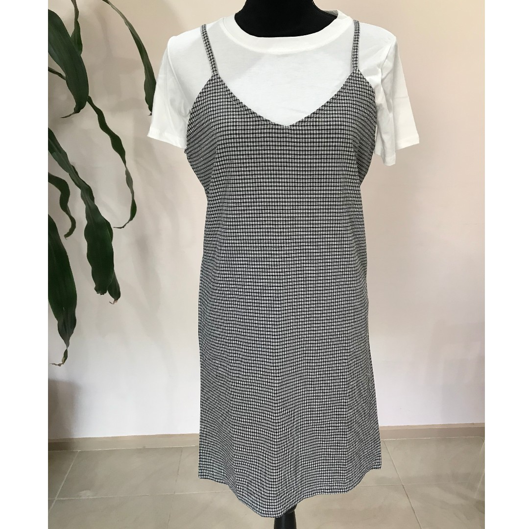 BRAND NEW White T-shirt with Patterned Slip Dress