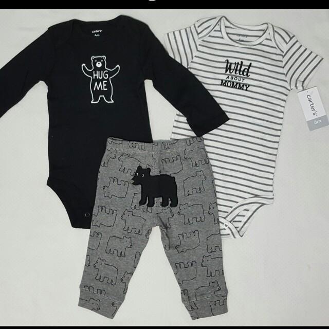 Carter's Black Onesies & Pant Boy Set