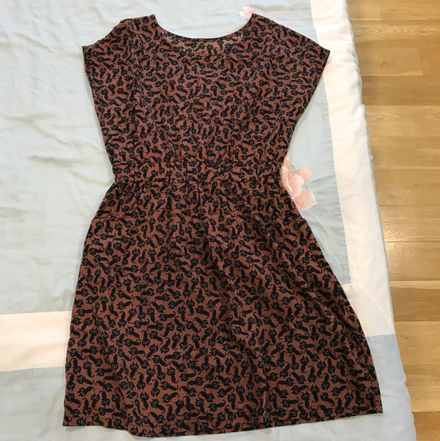 Cat print Brown Dress