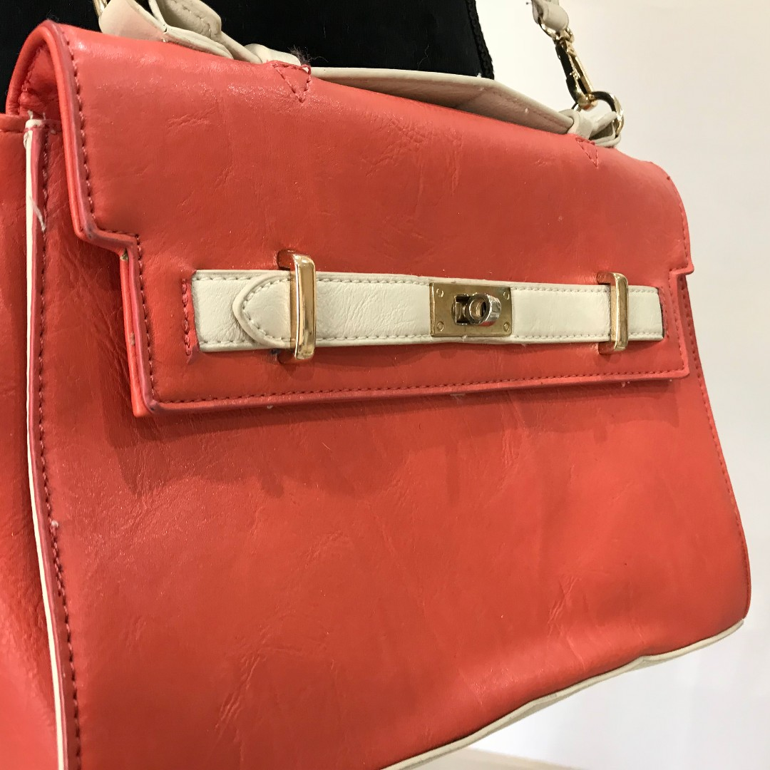 CUTE COLETTE HAYMAN Orange & Cream Side Bag