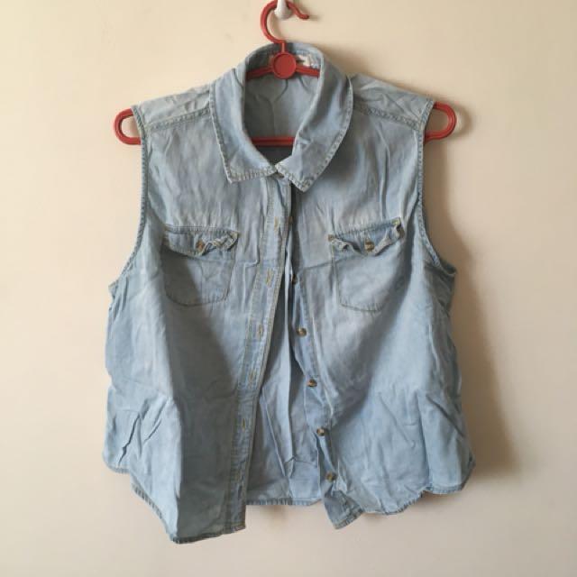 Denim Button down sleeveless top