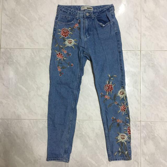Denim Floral Mid Waist Jeans