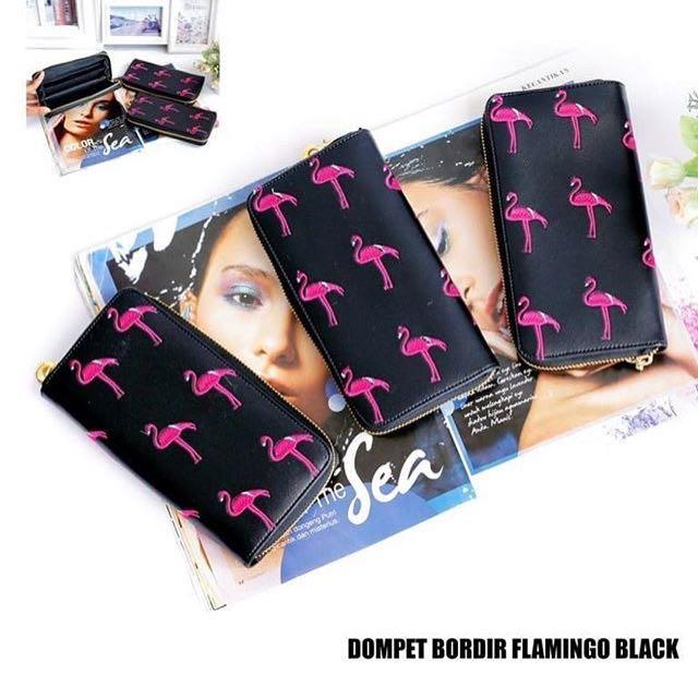 Dompet bordir flamingo black