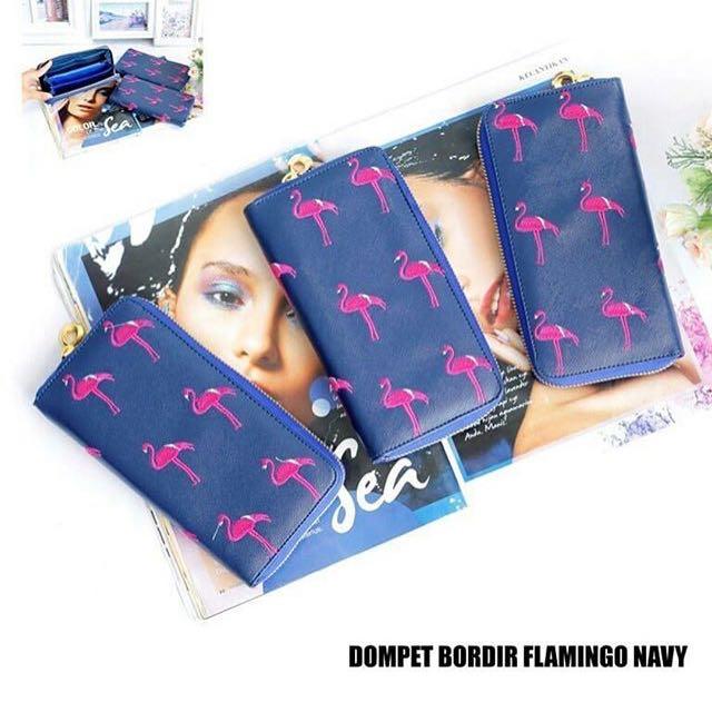 Dompet bordir flamingo navy