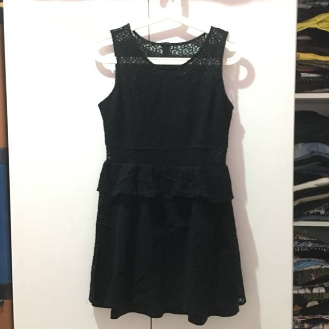 Dress Brukat Hitam ZALORA