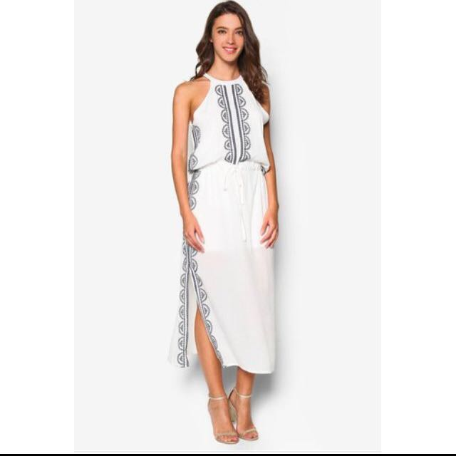 Embroidered maxi slit
