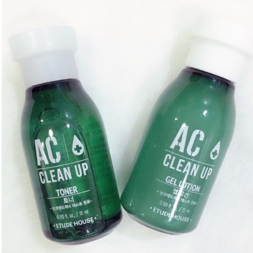 ETUDE HOUSE AC Clean Up Toner AND Gel Lotion 15ml, Health & Beauty, Skin, Bath, & Body on Carousell