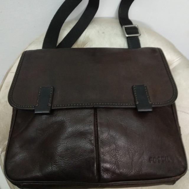 Tas Pria FOSSIL Mercer East West Men Messenger Bag Brown Leather Kulit Asli