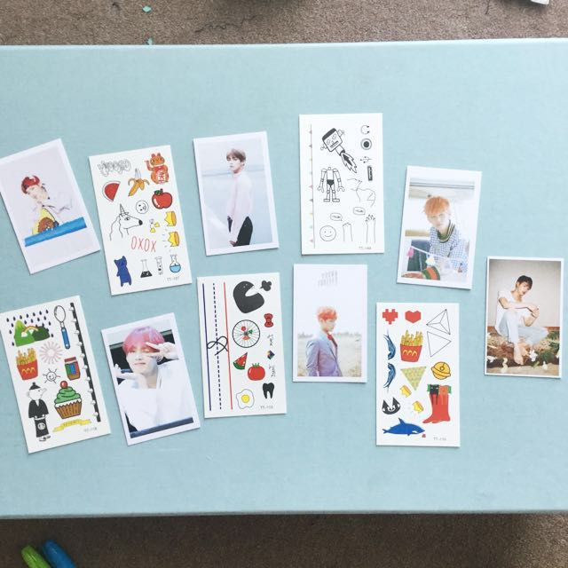 📮FP. Kim Taehyung photo cards with temporary tattoo sheets and free Jin card
