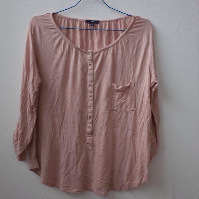 GAP Loose Tshirt Pink Casual Long Sleeve