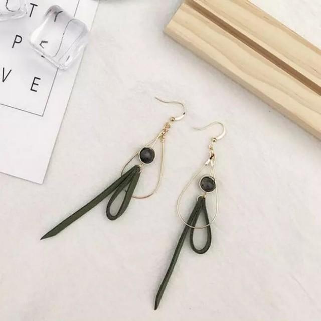 Gold tear drop green bead leather tassle earrings