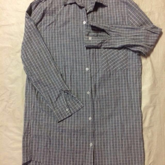 Gray Striped Long Top