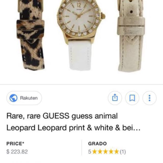 Guess ladies watch rare animal leopard print , white and beige