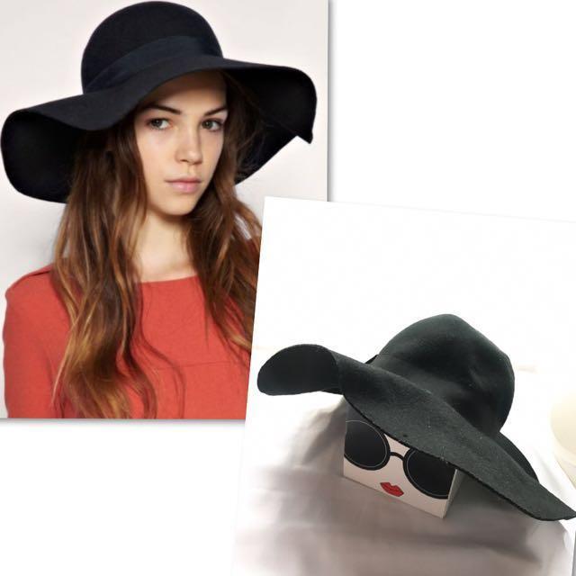 7aedb9acf H&M black Wool Hat 黑色闊邊帽