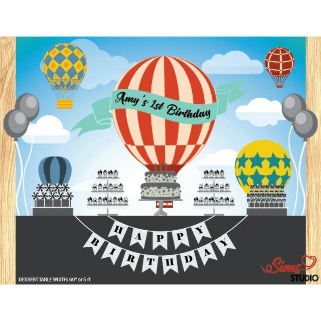 Hot Air Balloon Backdrop Baby Shower Hot Air Balloon Birthday