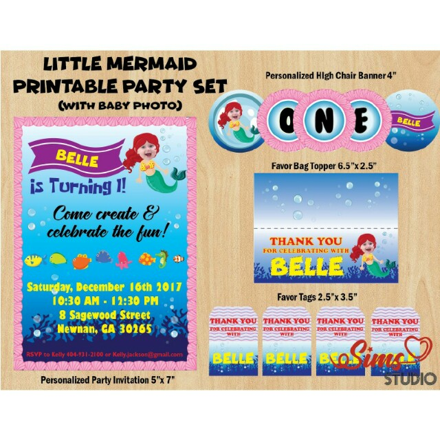 Little Mermaid Birthday Invitation Party Package Printables Decor Under The Sea Theme Design Craft