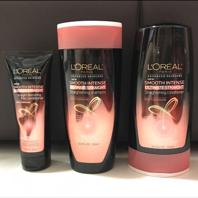 Loreal Ultimate Straightening Shampoo Conditioner Treatment Health Beauty Hair Care On Carousell