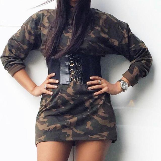 M boutique Camo Sweater Dress